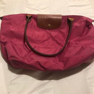 Longchamp Le Pliage Nylon Tote Handbag Pink Large